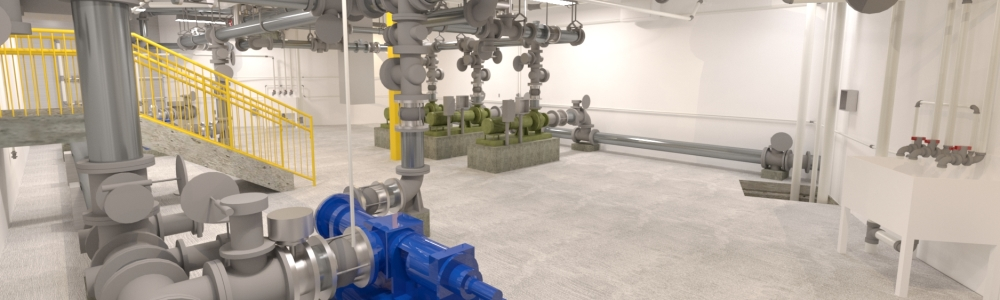 Biosolids Upgrade and Improvement Piping Rendering